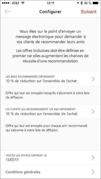 Dans l'application mobile, renseignez les offres de votre référence