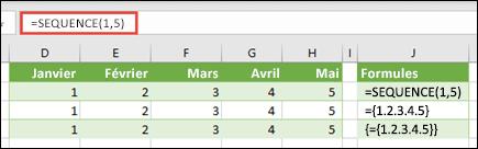 Créer une constante de matrice horizontale avec = SEQUENCE (1, 5) ou = {1, 2, 3, 4, 5}