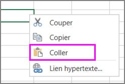 Option Coller disponible dans le menu contextuel (clic droit)