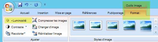 Sous l'onglet outils image-format, dans le groupe ajuster, sélectionnez luminosité.