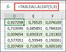 Fonction TABLEAU.ALEAT avec tableau 5 x 3: =TABLEAU.ALEAT(5,3)