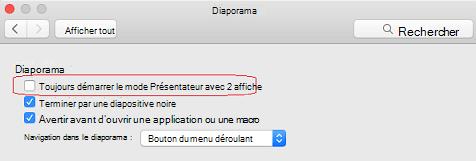 Dans la boîte de dialogue Paramètres du diaporama, désactivez la toujours démarrer le mode Présentateur avec 2 la case à cocher.