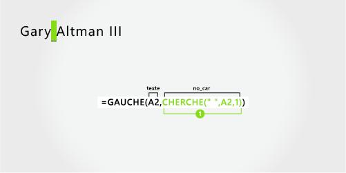 Formule pour séparer un prénom et un nom de famille suivis d'un suffixe