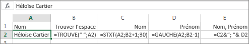 Formules permettant de convertir le format d'un nom complet en Nom, Prénom