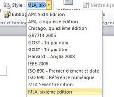Dans le groupe Citations et bibliographie, cliquez sur la flèche en regard de l'option Style