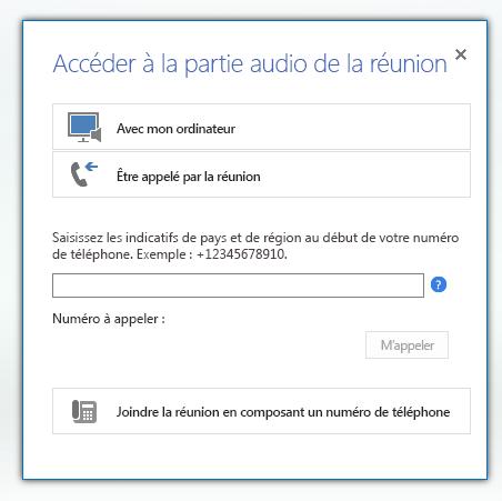 Capture d'écran de la boîte de dialogue Participer au système audio de la réunion avec l'option Être appelé par la réunion sélectionnée