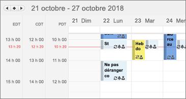 Calendrier affichant trois fuseaux horaires