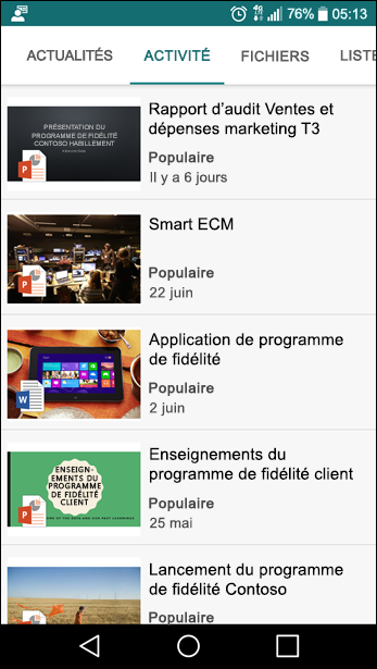 Site d'équipe SharePoint - Affichage mobile