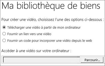 Boîte de dialogue de création d'une vidéo avec l'option Télécharger mise en évidence