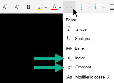 Sélectionnez le bouton de sélection « Autres options de police », puis indice ou exposant.