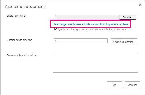 Sélectionnez plutôt Télécharger des fichiers dans l'Explorateur Windows.