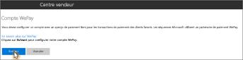 Capture d'écran: Configurer votre compte WePay dans Microsoft Bookings