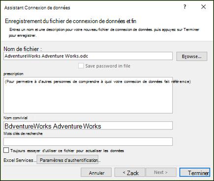 Assistant connexion de données > Enregistrer le fichier de connexion de données et de fin