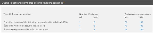 Nombre d'instances et options de précision de correspondance