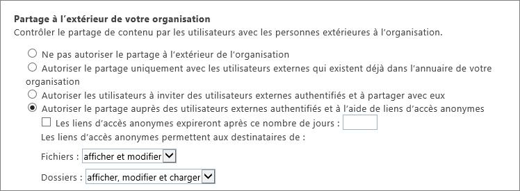 Page de partage externe client