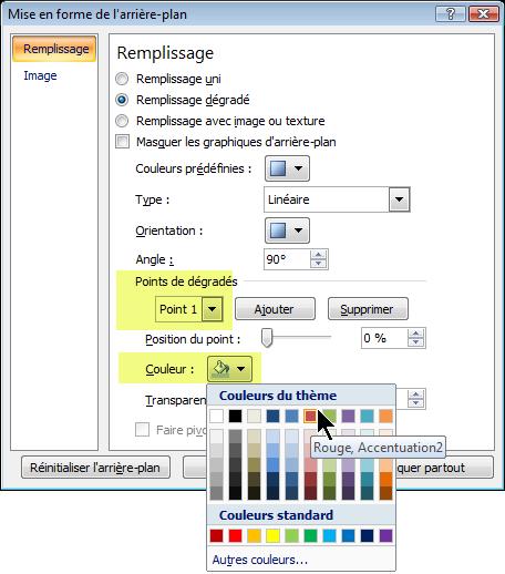 Pour un modèle de couleurs de dégradé personnalisé, sélectionnez un point de dégradé, puis sélectionnez une couleur.