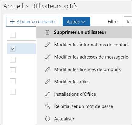 Supprimez un utilisateur à partir du Centre d'administration Office365.
