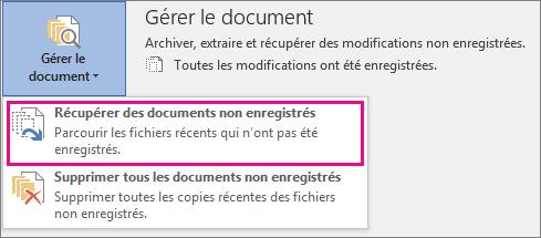Office2016 - Récupérer des documents non enregistrés