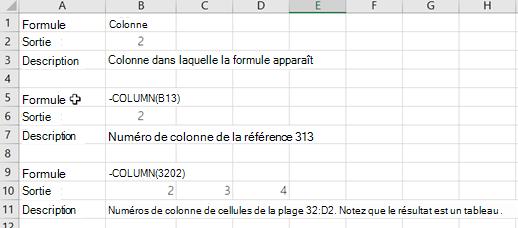 Exemples de la fonction colonne