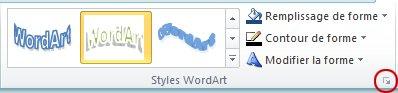 Lanceur de la boîte de dialogue Styles WordArt
