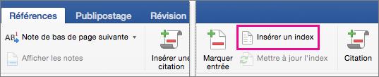 Sous l'onglet Références, l'option Insérer un index est mise en évidence