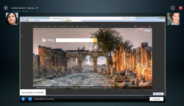 Capture d'écran de l'option Demander le contrôle d'une session de partage