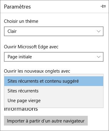 Paramètres Edge pour afficher l'onglet «Mon Office 365»