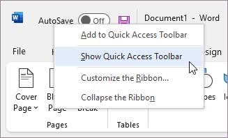 Afficher la barre d'outils Accès rapide