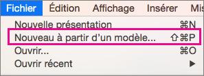 Office pour Mac - Nouveau à partir d'un modèle
