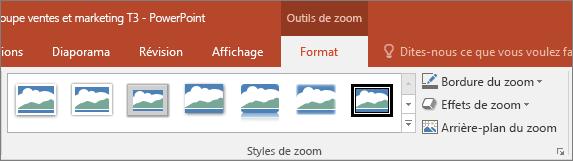 Différents styles et effets de zoom proposés sous l'onglet Mise en forme dans PowerPoint