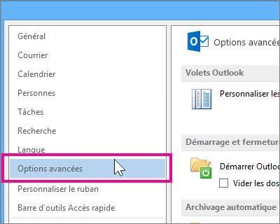 Cliquez sur Fichier, Options, Options avancées