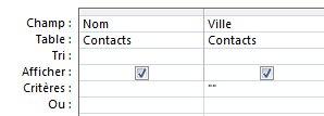 concepteur de requêtes avec des critères pour afficher les enregistrements avec un champ vide