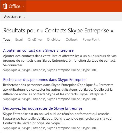 Capture d'écran des résultats d'une recherche de contacts Skype Entreprise sur le site du support Office.