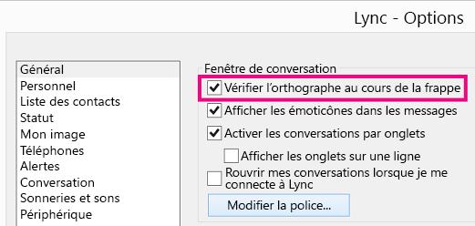 «Capture d'écran de la fenêtre des options générales de Lync avec l'option Vérification orthographique sélectionnée»