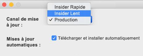 Image de la fenêtre Microsoft AutoUpdate -> Préférences sur Mac qui contient les options Insider Slow et Insider Rapide.