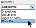 Dans la boîte de dialogue Imprimer, sous Imprimer, sélectionnez mode plan