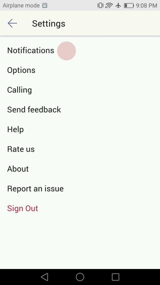 Menu paramètres, notifications sélectionnées