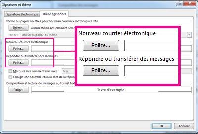 Commande Police dans la boîte de dialogue Signatures et thème