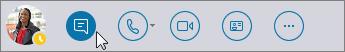 Menu rapide de Skype Entreprise avec l'icône de message instantané activée.