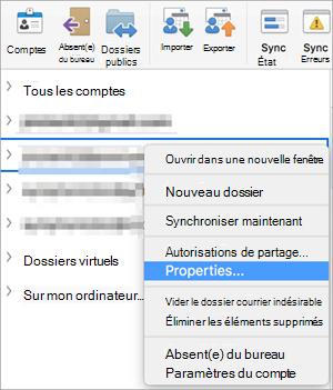 Affiche le menu contextuel d'un dossier Exchange avec la commande Propriétés est sélectionnée