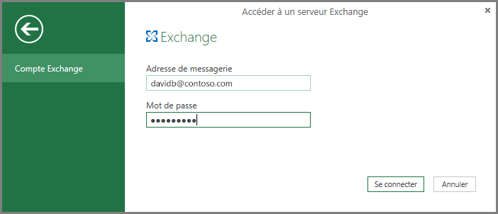 Informations d'identification Exchange