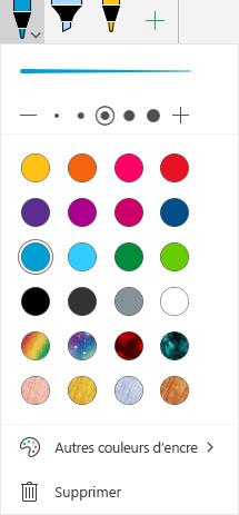 Couleurs et effets d'entrée manuscrite pour le dessin avec des entrées manuscrites dans Office sur Windows Mobile