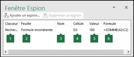 La fenêtre Espion permet de contrôler aisément les formules utilisées dans une feuille de calcul