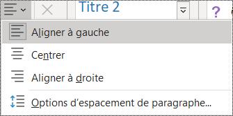 Capture d'écran des options d'alignement de paragraphe dans OneNote 2016