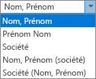 Options d'Outlook pour les personnes, indiquant l'ordre de classer sous options de la liste.