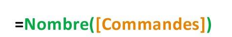 image de la syntaxe de la fonction compte =Compte([Commandes])
