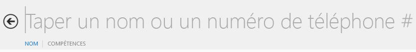 Capture d'écran de la zone de recherche de texte dans Lync
