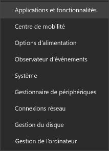 Capture d'écran du menu Démarrer affichant les applications et fonctionnalités