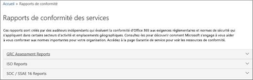 Affiche la page Certification du service: Rapports de conformité du service.
