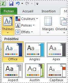 Galerie de thèmes dans Excel2010